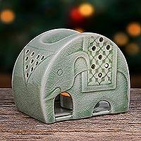 Celadon ceramic oil warmer, 'Celadon Elephant' - Celadon Ceramic Elephant Oil Warmer from Thailand