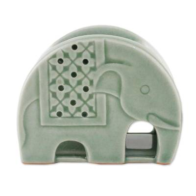 Celadon Ceramic Elephant Oil Warmer from Thailand