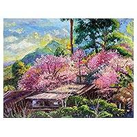 'The Prunus Cerasoides' - Signed Impressionist Landscape Painting from Thailand