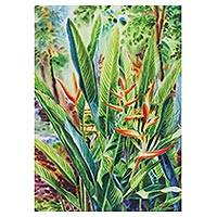 'The Bird of Paradise' - Nature-Themed Watercolor Painting from Thailand