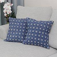 Batik cotton cushion covers, 'Indigo Squares' (pair) - Batik Cotton Cushion Covers with Indigo Square Motifs