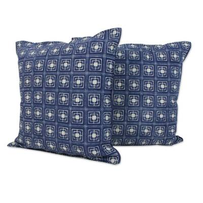 Cotton batik cushion covers, 'Indigo Squares' (pair) - Batik Cotton Cushion Covers with Indigo Square Motifs