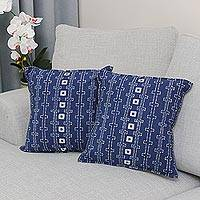 Batik cotton cushion covers, 'Indigo Chains' (pair) - Batik Cotton Cushion Covers in Indigo from Thailand