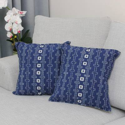 Batik cotton cushion covers, 'Indigo Chains' (pair) - Batik Cotton Cushion Covers in Indigo from Thailand (Pair)
