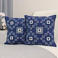 Batik cotton cushion covers, 'Indigo Palace' (pair) - Handmade Batik Cotton Cushion Covers in Indigo