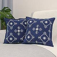 Cotton batik cushion covers, 'Geometric Mood' (pair) - Batik Cotton Cushion Covers with Geometric Motifs