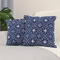 Batik cotton cushion covers, 'Indigo Thatch' (pair) - Batik Cotton Cushion Covers with Thatch Motifs