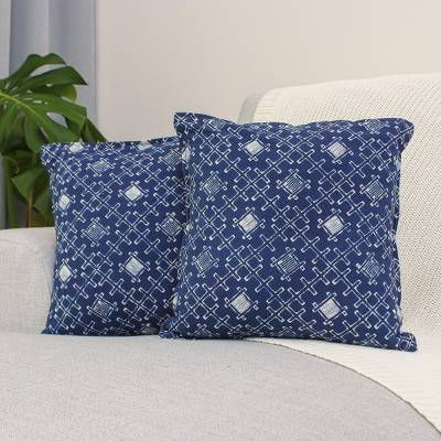 Cotton batik cushion covers, 'Indigo Thatch' (pair) - Batik Cotton Cushion Covers with Thatch Motifs (Pair)