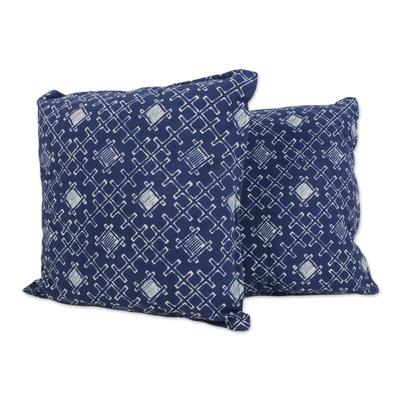 Batik Cotton Cushion Covers with Thatch Motifs (Pair)