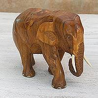 Teakwood sculpture, 'Go For a Walk' (right) - Teakwood Sculpture of a Right-Facing Elephant from Thailand