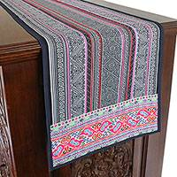 Cotton blend table runner, 'Hmong Homestead' - Hmong Hill Tribe Cotton Blend Table Runner from Thailand
