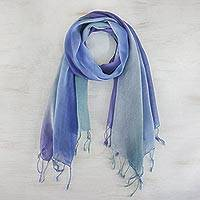 Cotton scarves, 'Summer Morning' (pair)