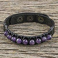 Amethyst and leather wristband bracelet, 'Rock Walk' - Amethyst and Leather Wrtistband Bracelet from Thailand