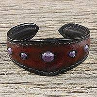 Amethyst cuff bracelet, 'The Power' - Amethyst and Leather Cuff Bracelet from Thailand