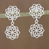 Sterling silver dangle earrings, 'Geometric Stars'
