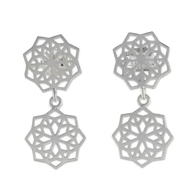 Sterling silver dangle earrings, 'Geometric Stars' - Geometric Sterling Silver Dangle Earrings from Thailand