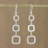Sterling silver dangle earrings, 'Modern Squares'