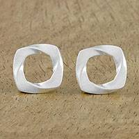 Sterling silver stud earrings, 'Square Twist' - Openwork Sterling Silver Square Stud Earrings from Thailand
