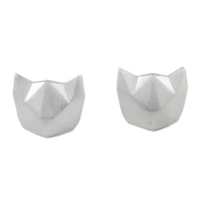 Sterling silver stud earrings, 'Cat Lover' - Geometric Cat Sterling Silver Stud Earrings from Thailand