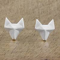 Sterling silver stud earrings, 'Fox Lover' - Geometric Fox Sterling Silver Stud Earrings from Thailand