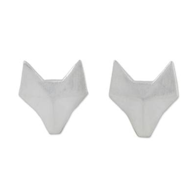 Sterling silver stud earrings, 'Fox Lover' - Geometric Fox Sterling Silver Stud Earrings from Thailand