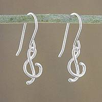 Sterling silver dangle earrings, 'G-Clef'