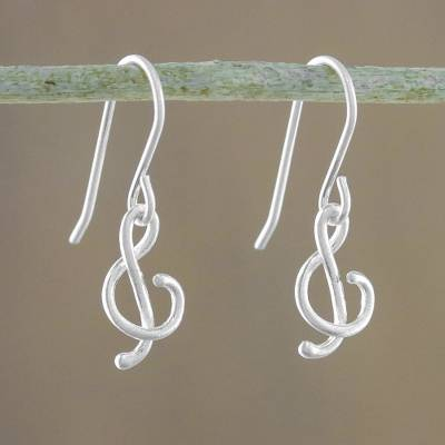 Sterling Silver Dangle Earrings G Clef