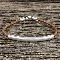 Sterling silver and leather pendant bracelet, 'Everyday Style' (8.25 in.) - Sterling Silver and Leather Pendant Bracelet (8.25 in.)