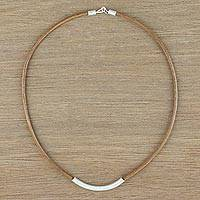 Sterling silver and leather pendant necklace, 'Everyday Style' - Sterling Silver and Leather Pendant Necklace from Thailand