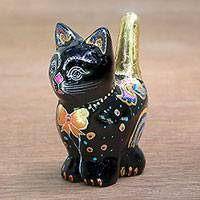Raintree wood figurine, 'Lively Cat' - Black Cat with Colorful Hand Painted Accents Wood Figurine