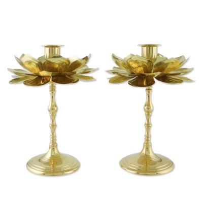 Brass Lotus Flower Table Decor Candlesticks (Pair)