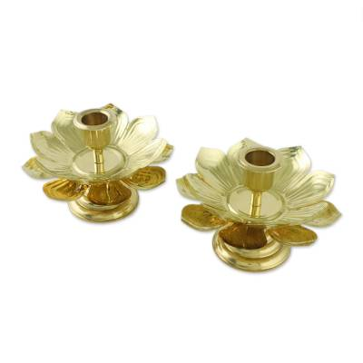 Brass Thai Lotus Blossom Candlesticks for Tapers (Pair)