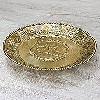 Brass decorative tray, 'Thai Zodiac' - Round Decorative Animal Zodiac Openwork Brass Tray