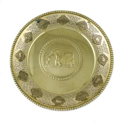 Round Decorative Animal Zodiac Openwork Brass Tray