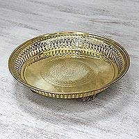 Brass decorative tray, 'Timeless Brilliance' - Brass Floral Thai Elephant Openwork Decorative Catchall Tray