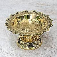 Brass decorative bowl, 'Forest Elephant' - Brass Flower and Leaf Elephant Home Decorative Bowl