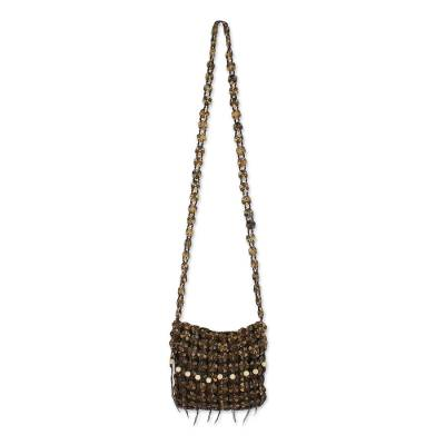 Handcrafted Espresso Brown Coconut Shell Flower Sling