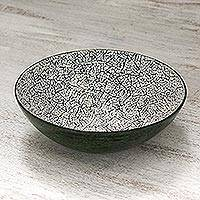Eggshell and bamboo decorative bowl, 'Green Shell' - Eggshell and Bamboo Decorative Bowl in Green from Thailand