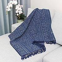 Batik cotton throw, 'Batik Energy' - Geometric Batik Cotton Throw in Indigo from Thailand