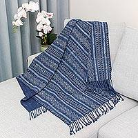 Batik cotton throw, 'Antique Spirals' - Batik Cotton Throw with Indigo Spiral Motifs from Thailand