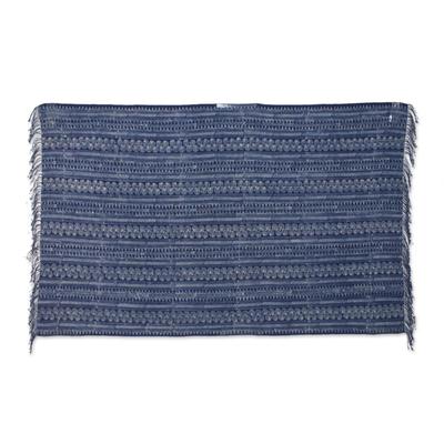 Batik Cotton Throw with Indigo Spiral Motifs from Thailand