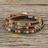 Agate and onyx beaded wrap bracelet, 'Sunset Fields' - Moss Agate and Onyx Beaded Leather Cord Wrap Bracelet