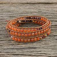 Carnelian and jasper beaded wrap bracelet, 'Terra Firma Swirl' - Carnelian and Jasper Beaded Leather Cord Wrap Bracelet