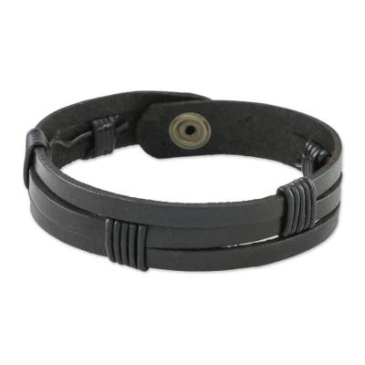 Men's leather wristband bracelet, 'Commander in Black' - Men's Black Leather Wristband Bracelet with Brass Snap