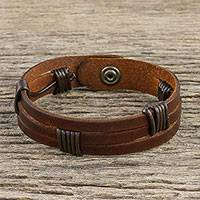 Men's leather wristband bracelet, 'Commander in Dark Brown'