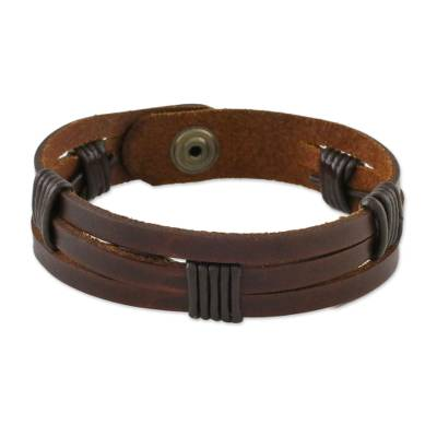 Men's leather wristband bracelet, 'Commander in Dark Brown' - Men's Dark Brown Leather Wristband Bracelet with Brass Snap