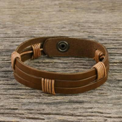 Men's leather wristband bracelet, 'Commander in Light Brown' - Men's Light Brown Leather Wristband Bracelet with Brass Snap
