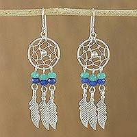 Quartz dangle earrings, 'Dream Keeper' - Quartz and Sterling Silver Dream Catcher Dangle Earrings