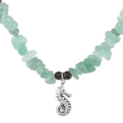 Aventurine Garnet Sterling Silver Seahorse Pendant Necklace