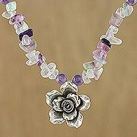 Fluorite and amethyst pendant necklace, 'Violet Field' - Amethyst Fluorite Sterling Silver Flower Pendant Necklace
